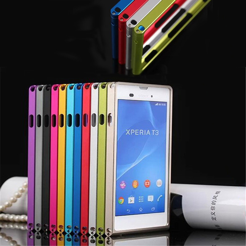 For Sony T3 Bumper Case Aluminum Metal Frame Case Cover for Sony Xperia T3 M50W D5102