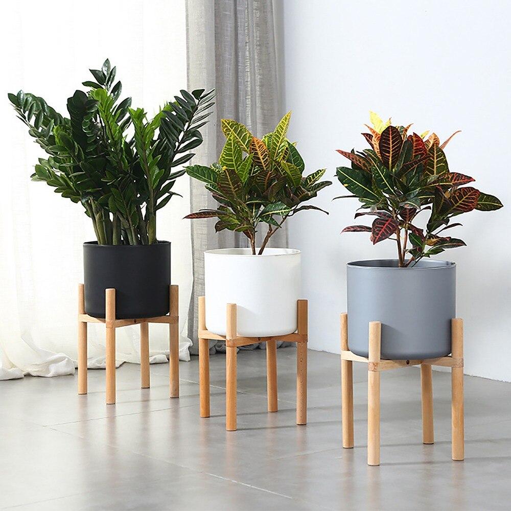 Milieu du siècle 28 cm plante d'intérieur Pot de fleur planteur Stand assemblage hêtre bois titulaire en bois plancher en Pot Rack pour la maison bureau décor