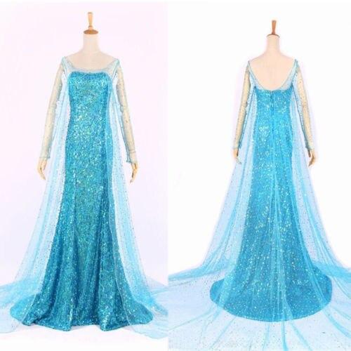 Elsa Queen Princess Adult Women Cocktail Party Dress Costume Elsa Dresses Blue Bling Snow Cosplay Dress