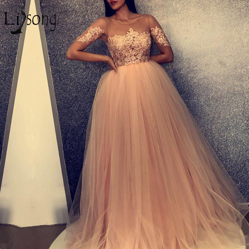 Modest Champagne Lace Evening Dresses 2018 With Short Sleeves A line Tutu Long Prom Gowns Vintage