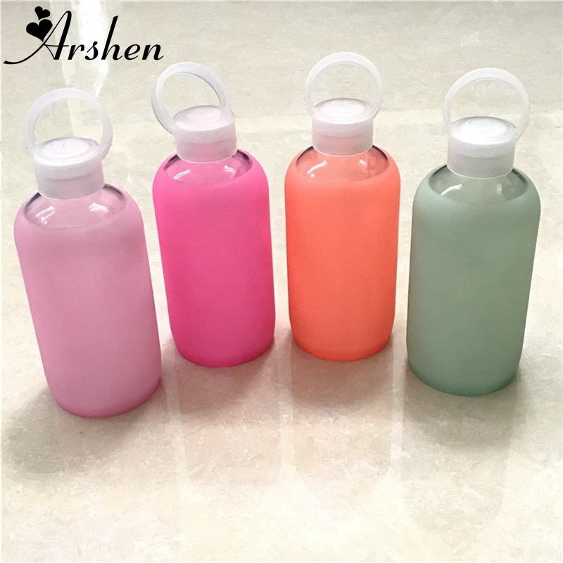 Arshen Fashion Colorful 500mL Glass Water Bottle Glass Beautiful Gift Women Water Bottles with Protective Silicon Case Tour Camp