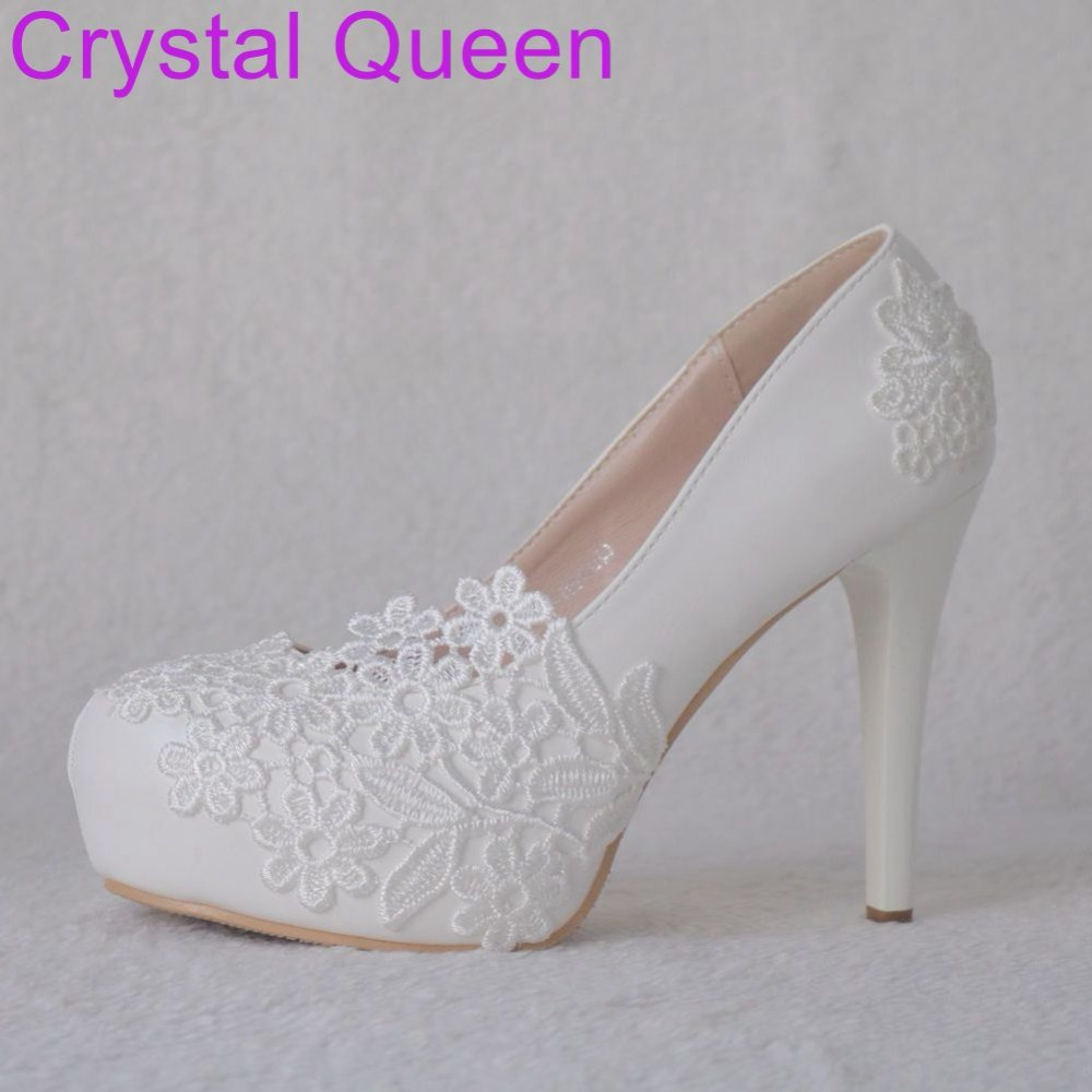 Crystal Queen White Lace Pumps Shoes For Women Wedding Bridal Shoes 11CM  Platform Shoes Round Toe Thin Heel Pumps Shoes 2018-in Women s Pumps from  Shoes on ... e8f49faf3755