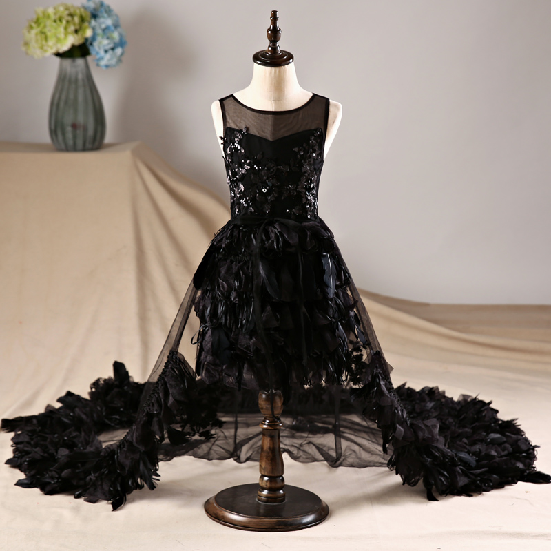 Detachable Long Trailing Girls Dresses Sequined Luxury Black Clothing Graduation Communion Gown Prom Party Dress JF622 black graduation star personalized banner