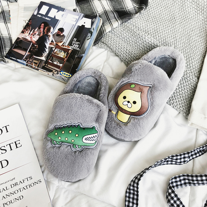 Women slippers Soft Velvet Indoor fur Floor Animal cartoon Cute Emoji Home Shoe Soft Bottom Winter Warm Shoes Bedroom house jo no fui пиджак