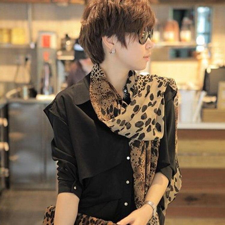 2018 New Design 157*73cm Square Scarves Coffee Black Leopard Print Scarf Printed Crepe Satin Silk Winter Ladies Scarves Wraps
