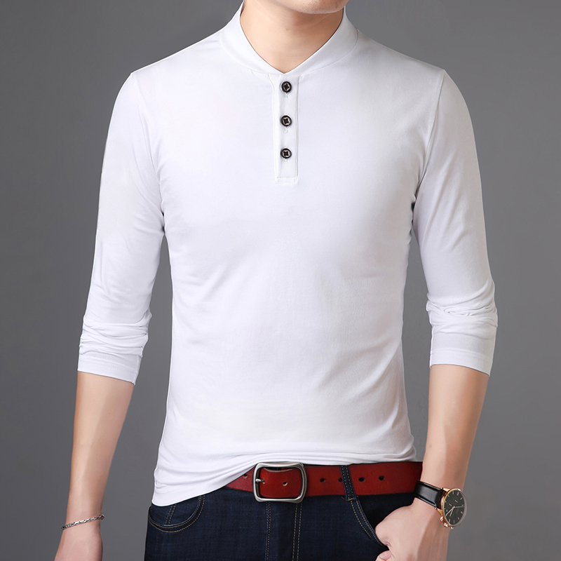 2019 New Fashion Brand Polo Shirt Men Solid Color Street Style Tops Trending Mercerized Cotton Long Sleeve Polos Mens Clothing