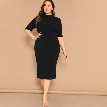 Classy Black Plus Size Mock-neck Solid Pencil Slim Dress