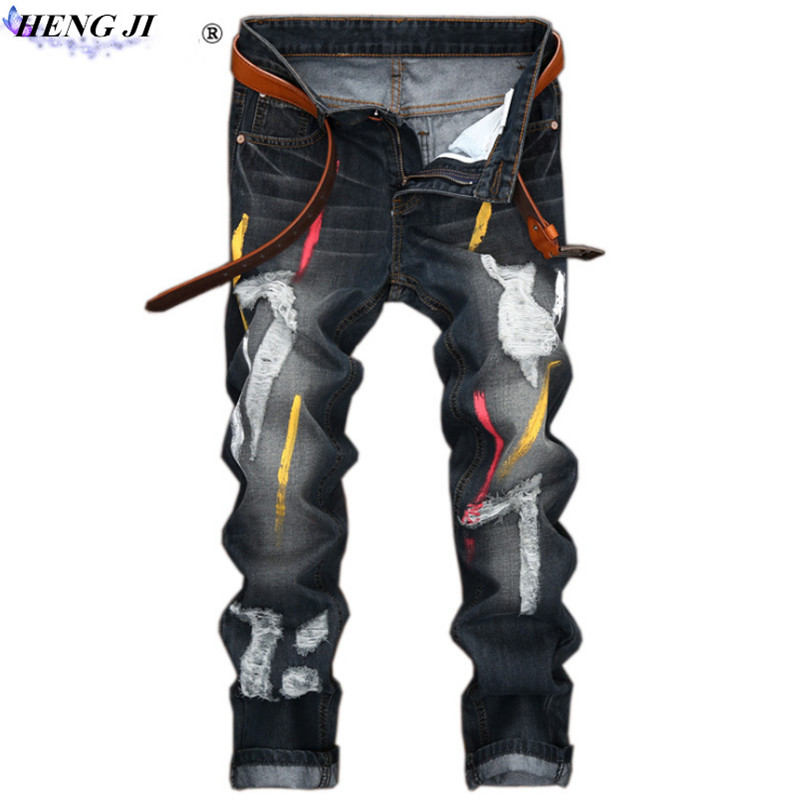2018 The new Male painted jeans, ripped jeans, straight pants, make old, cat beard, wear, wash, high quality, free shipping