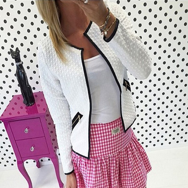 2018 Autumn Women Short Coat Long Sleeve Basic Jackets For Women Casual Windbreaker O-neck Slim Outwear White Black Gray Coat