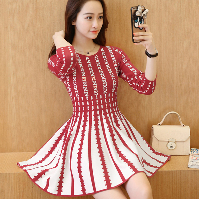 35b2a1b22eb2 2016 Korean version of autumn and winter Sweater Knit Dress Thin stripes  Mori Girl Style woman sweet mini dress Small Fresh