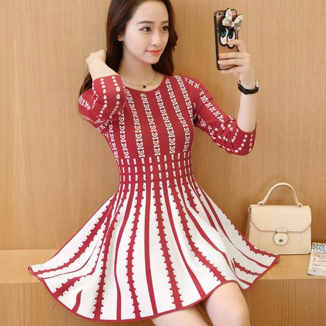 35b2a1b22eb2 2016 Korean version of autumn and winter Sweater Knit Dress Thin stripes  Mori Girl Style woman sweet mini dress Small Fresh