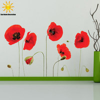Big Discount Removable Wall Decals Art Flower Mural For Home Ation Removable PVC Beautiful Flower Sofa