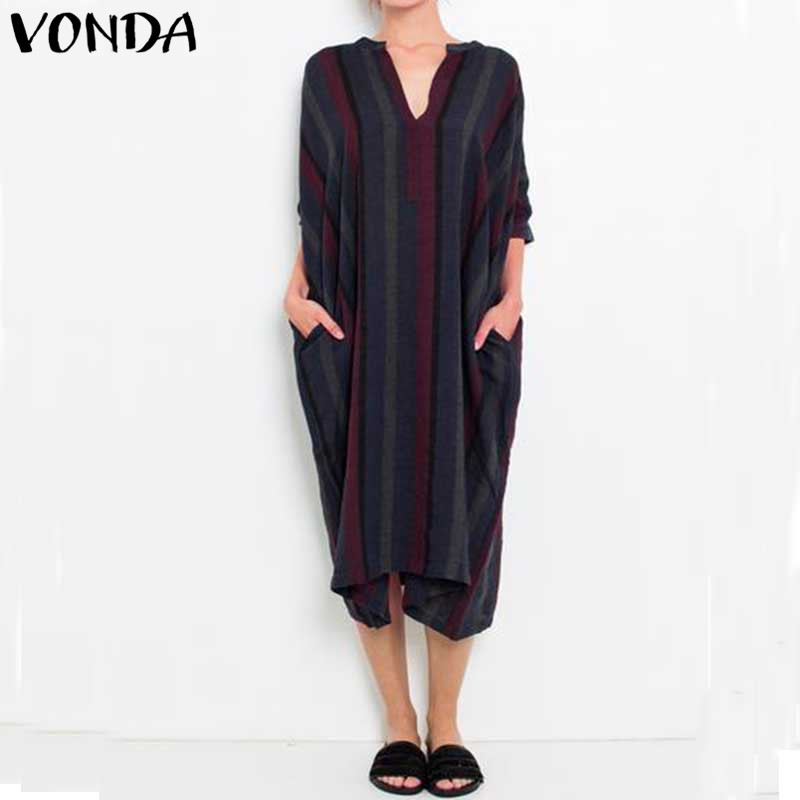 VONDA Women Pregnant Casual Loose Dress 2018 Striped Sexy V Neck Half Sleeve Mid-calf Vestidos Plus Size Maternity Clothings ...