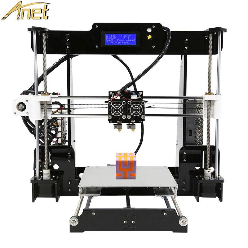 Anet A8 UMA/Duas Cores Impressora 3d 2019 Preço de Fábrica Máquina de Impressão Dupla Bico Reprap Prusa i3 Barato 3d dupla Extrusora 22*22*24