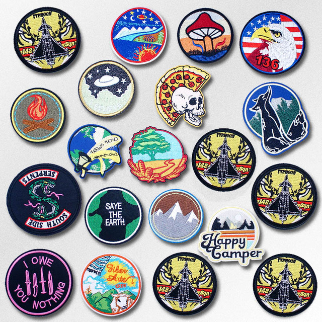 US $0 27 25% OFF DIY Badges Patch Jeans Bag Hat Clothes Apparel Sewing  Decoration Applique Bagde Patches Accessories Eagle Tiger Fox Mushroom-in