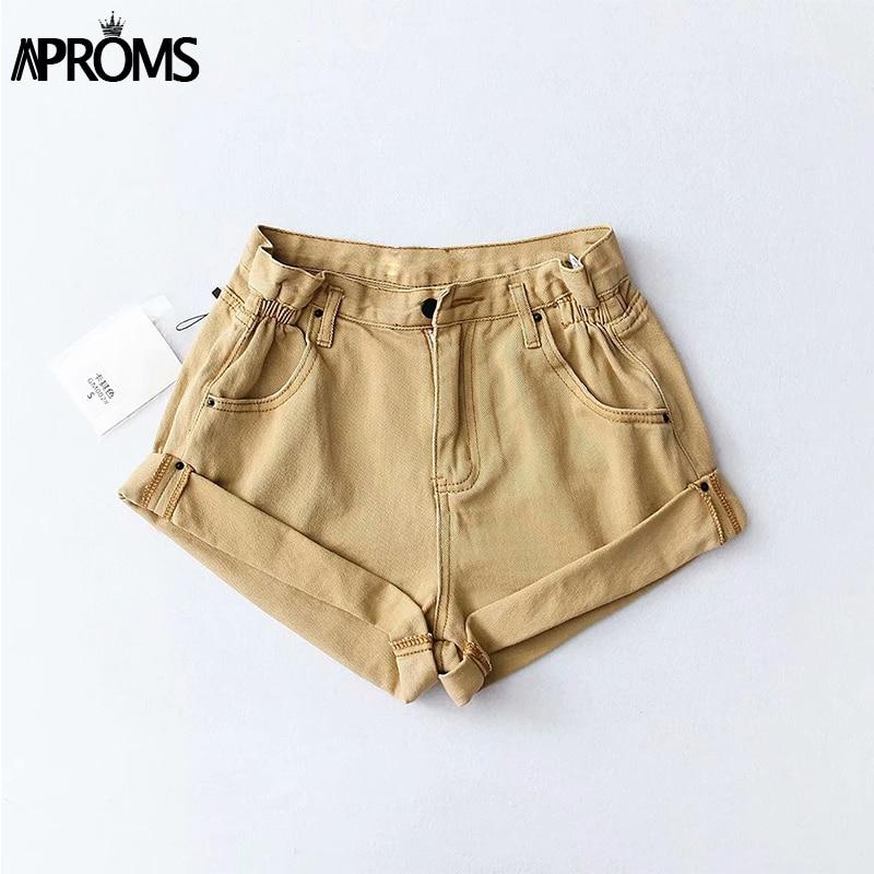 Aproms Casual Blue Denim Shorts Women Sexy High Waist Buttons Pockets Slim Fit Shorts 2019 Summer Beach Streetwear Jeans Shorts 9