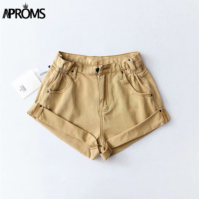 Aproms Casual Blue Denim Shorts Women Sexy High Waist Buttons Pockets Slim Fit Shorts 2019 Summer Beach Streetwear Jeans Shorts 2