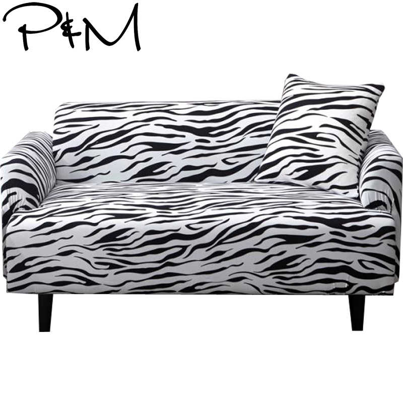 Papa&Mima Print Leopard pattern Stretch Sectional Sofa Covers For Single Two Three Four Seats Slipcovers Elastic Couch Cover