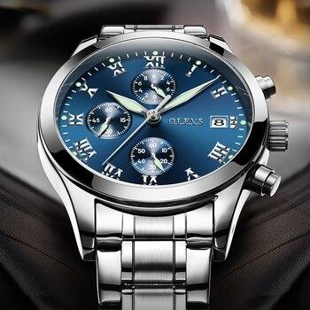 fc502c59eca6 OLEVS marca hombres relojes con pulsera de Metal lujo impermeable del  deporte del cuarzo relojes hombres de acero inoxidable Auto Fecha de pulsera