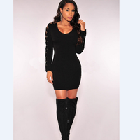 Online Shopping India Fashion Women Bandage Bodycon Hollow Out Long Sleeve Evening Sexy Party Mini Black