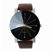 1PC Men Women Watches Quartz Dial Clock Leather Wrist Watch Round Case
