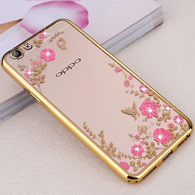 OPPO F1S F5 F7 Phone Case Glitter Flower Bling Silicone Diamond Bumper Cover For OPPO F1 Plus A59 A77 A73 A3Back Coque r9s