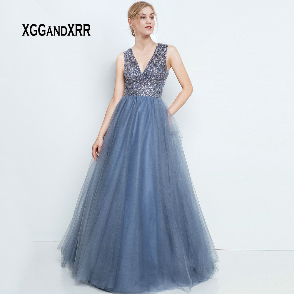 Sexy col en V robe de bal 2019 luxe perles lourdes cristal Tulle gris longue robe formelle femme princesse grande taille robe