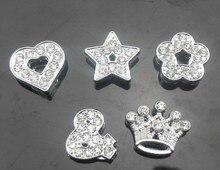 20 шт./лот 8 мм полный стразами в форме сердца звезда цветок и корона слайд прелести подходят для 8 мм кожаный браслет брелки