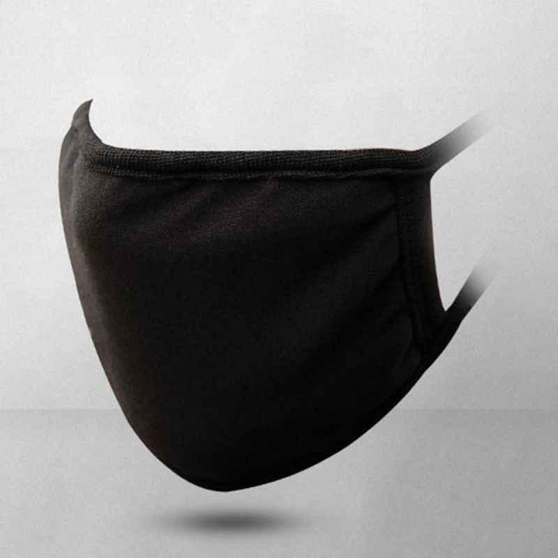 Unisex Nero Bocca Maschera di Cotone Lavabile Anti Polvere Protettiva Riutilizzabili 3 Strati