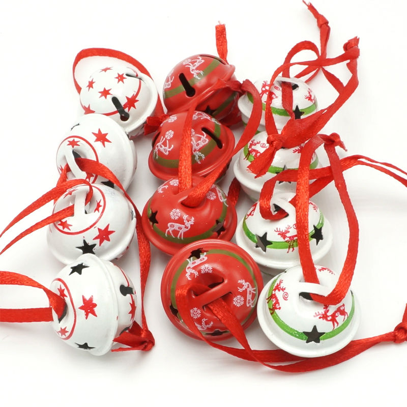 Christmas decoration 12pcs 3 types reindeer star metal small jingle bell for home 25mm merry christmas tree decor free shipping