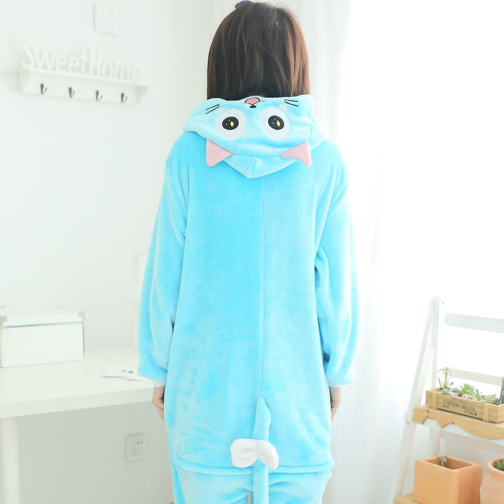 ... HKSNG High Quality Animal Adult Cute Fairy Tail Happy Cat Pajamas  Flannel Kigurumi Onesies Cosplay Costumes ... d45f3762e2
