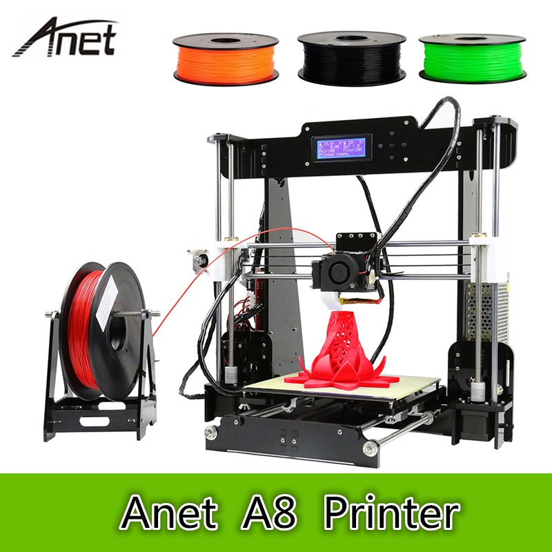 Anet A8 3D Desktop Printer 0.4mm Nozzle 220 X 220 X 240mm 100mm/S High Accuracy DIY 3D Printing Kit Large Printing Size As Gift anet a8 high accuracy desktop 3d printer 100mm s diy 3d printing kit large printing size support abs pla wood pva pp luminescent