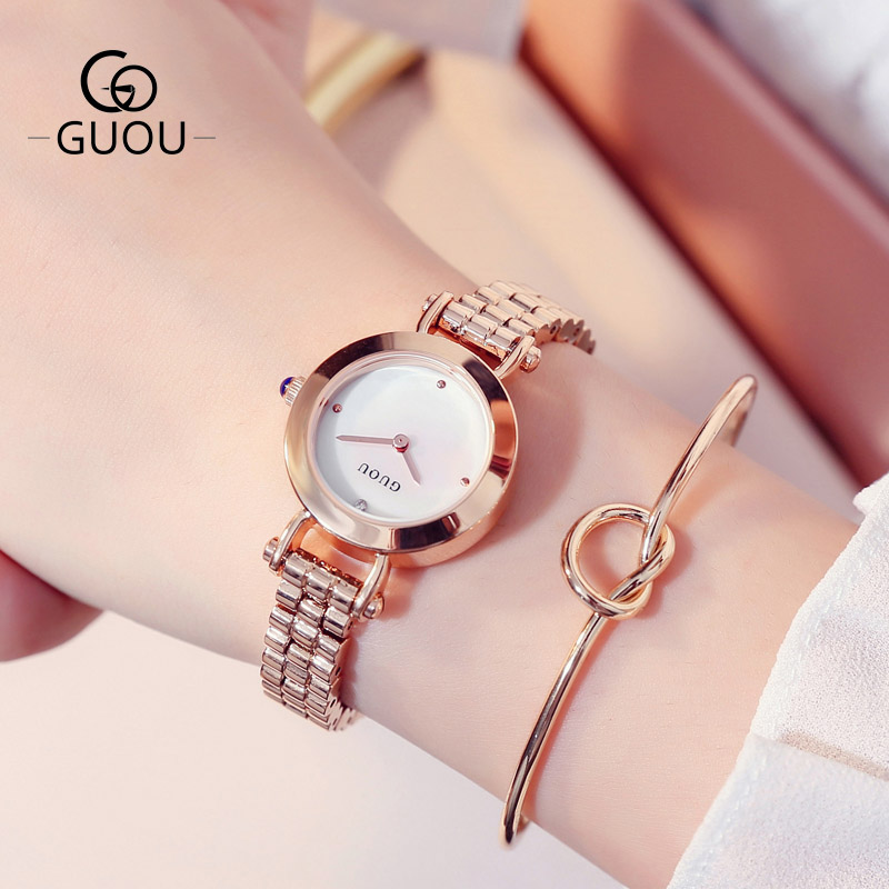 GUOU Luxury Brand Women Quartz Watch Relogio Feminino Gold Bracelet Clock Ladies Fashion Casual Stainless Steel Wrist Watches new top brand guou women watches luxury rhinestone ladies quartz watch casual fashion leather strap wristwatch relogio feminino