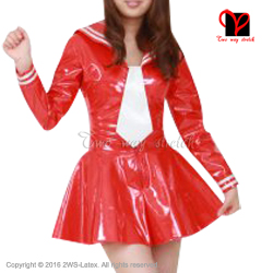 Buy Sexy red Rubber dress white Latex Tie Waitress sailor baby doll flares Latex uniform Long sleeves size XXXL QZ-077