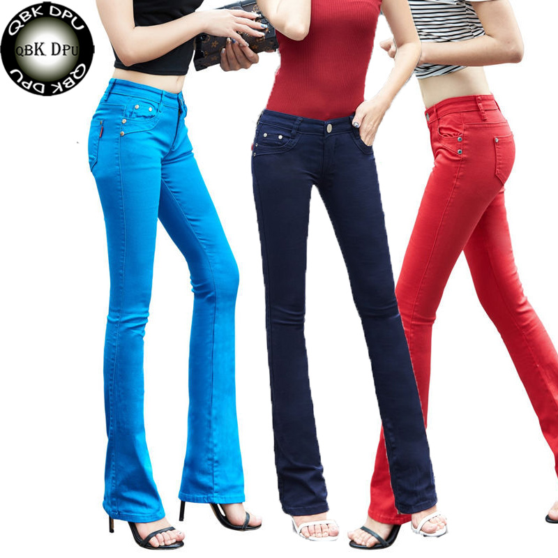 Mom's Plus Size Flare Jeans Woman Street Fashion Stretch Vintage Pants Sexy Low Rise Bell Bottom Jeans Slim Denim Trousers