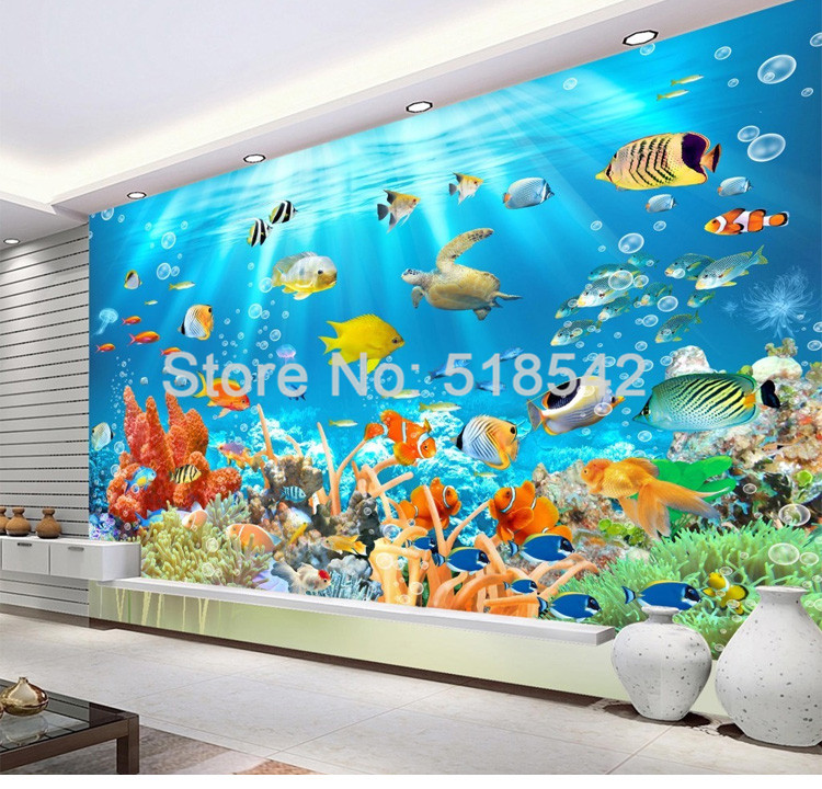 HTB1z jdPVXXXXbAXXXXq6xXFXXXf - Custom Photo Mural Non-woven Embossed Wallpaper Underwater World Fish Coral Children Room Living Room Wall Decoration Wallpaper