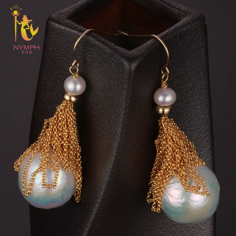 [NYMPH] Freshwater Pearl Earrings For Women Fine Jewelry Big Pearl Earrings Gold Drop Irregular Fashion Gift For Party E324 [zhixi] freshwater pearl earrings for women fine jewelry big pearl earrings gold drop irregular fashion gift for party eb224