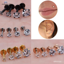 1pc/lot 1.2x8/6mm Round Bijoux Nose Piercing Labret Helix Piercing Earrings Lip Tragus Piercing Nose Ring Stud Pircing de Orelha(China)