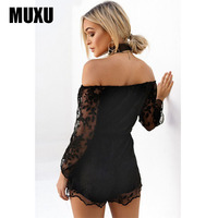 MUXU sexy summer black lace jumpsuit short femme body suits for women rompers long sleeve backless bodysuit lace one piece 2018