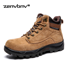 Men Boots Winter Autumn Suede Leather boost Shoes for Men Big Size 38-45 winter Ankle boots work shoes Men Outdoor Travel shoes