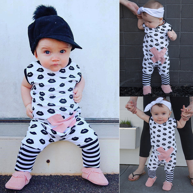 68aa884e7748 Cute Baby boy girl romper Lips pattern printed child playsuit ...