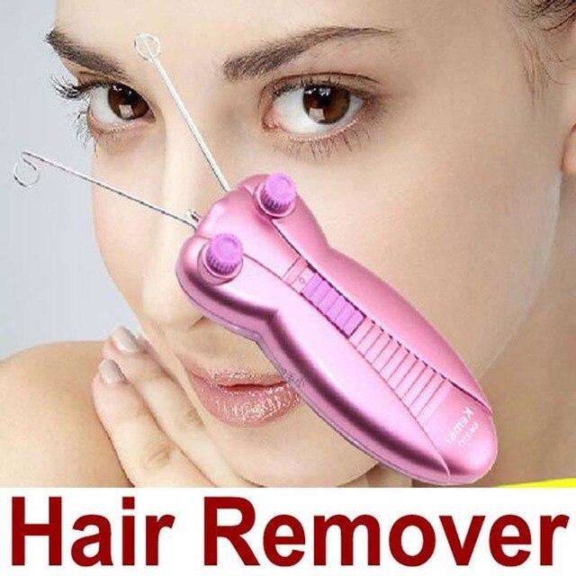 Rimozione dei capelli sul viso con un filo