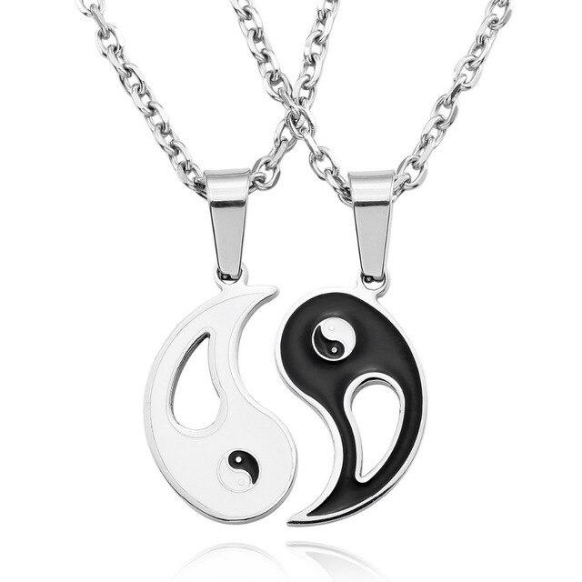 2pcs new chinese mystical yin yang pendant necklace stainless 2pcs new chinese mystical yin yang pendant necklace stainless steel necklaces bagua pendant men women new aloadofball Choice Image