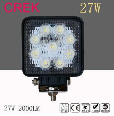 2pcs/lot 27W Square LED Work Light 12V 60degree Waterproof For 4x4 Offroad Truck Tractor Motorcycle Driving Fog Lights Boating