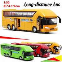 21CM Long Distance Tourism Bus Model Alloy Mold Light Music Pull Back Door Opens Diecast Sightseeing Tour Travel Car Model Toy