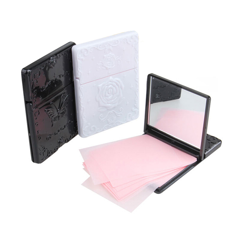 50 Pcs Facial Cleaner Oil Absorbing Sheet With Black & White Mirror Case Oil Remover Paper Absorb Blotting Face Tools