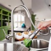 Modern New Brushed Nickel Kitchen Faucet Pull Out Single Handle Swivel Spout Vessel Sink Mixer Tap