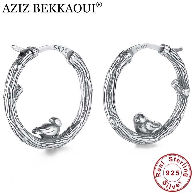 AZIZ BEKKAOUI Vintage 100% 925 plata esterlina Animal pájaro pendientes de aro clásico auténtica joyería de plata Brincos regalo