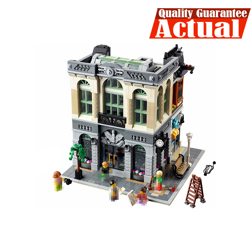 LEPIN 15001 Brick Bank Street View Creator Building Blocks Bricks DIY Toys For Boys oyuncak Compatible with legoINGly 10251 lepin 15008 2462pcs city street green grocer legoingly model sets 10185 building nano blocks bricks toys for kids boys
