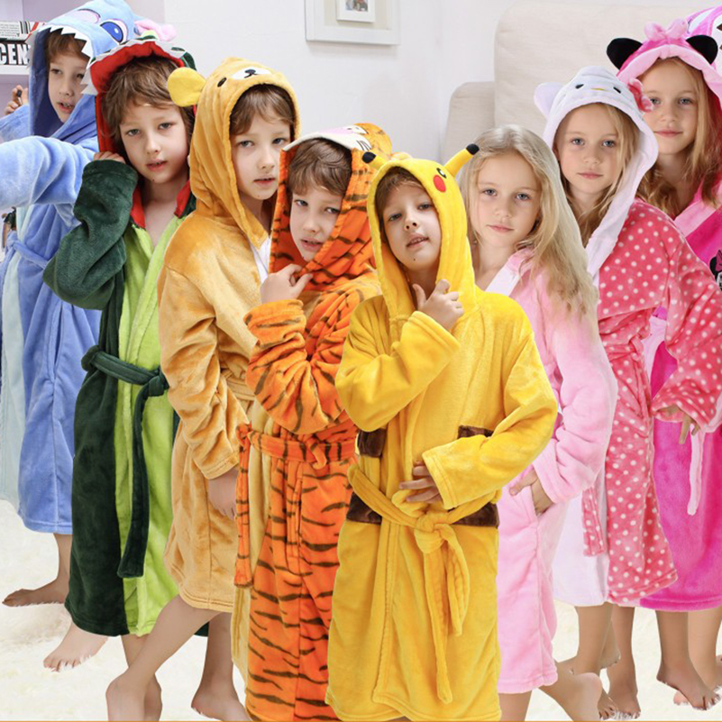 Bathing Clothes Robe For Children Dinosaur Pokemon Pikachu Bathrobe Boys Girls Towel Sleepwear Pajamas Children's  Flannel Robes